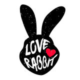 Rabbit head silhouette with inscription and red heart. Lettering text Love rabbit. Stock Photography