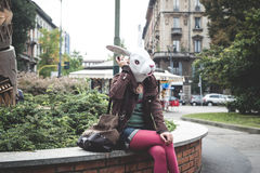 Rabbit head woman Stock Photography