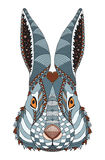 Rabbit head zentangle stylized with heart on forehead, , illustration, pattern, f Stock Images