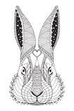 Rabbit head zentangle stylized, vector, illustration, pattern, f Stock Image