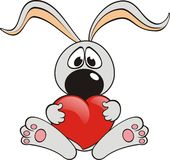 Rabbit with a heart Stock Photos