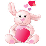 Rabbit with a heart. Pink little rabbit with a heart Royalty Free Stock Photo