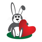 Rabbit with heart Royalty Free Stock Photos