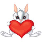 Rabbit with a heart Royalty Free Stock Image