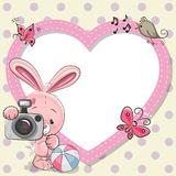 Rabbit with heart frame Royalty Free Stock Image