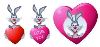 Rabbit. Heart. Love. Royalty Free Stock Images