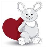 Rabbit with heart Royalty Free Stock Photos