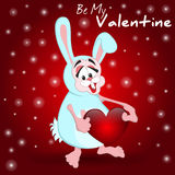 Rabbit with heart. Romantic card. Valentine's day. Happy Valentines card. Cute cartoon bunny  with heart. Be My Valentine Royalty Free Stock Photo