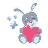 Rabbit with heart vector illustration. Cartoon style bunny.  Royalty Free Stock Image