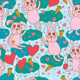 Rabbit heaven seamless pattern Stock Photo