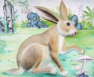 Rabbit High Relief and Wall Painting Royalty Free Stock Photography