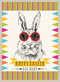 Rabbit hipster easter. Vector art background,print or illustration Royalty Free Stock Image