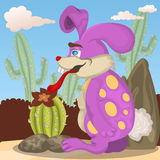 Rabbit with his cactus Stock Images