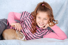 The rabbit and his guardian Stock Photography