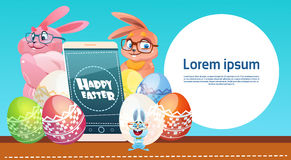 Rabbit Hold Cell Smart Phone Decorated Colorful Eggs Easter Holiday Symbols Greeting Card Stock Images