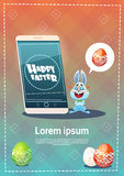Rabbit Hold Cell Smart Phone Decorated Colorful Eggs Easter Holiday Symbols Greeting Card Stock Photo