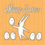 Rabbit Hold Egg With Cartoon Face Happy Easter Holiday Banner Greeting Card Wooden Texture Royalty Free Stock Photography