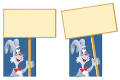 Rabbit holding blank banner. Cartoon styled vector illustration. No transparent objects Royalty Free Stock Photos