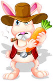 A rabbit holding a carrot with a hat and a cigarette Royalty Free Stock Photo