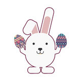 Rabbit holding easter eggs design. Vector illustration Stock Images