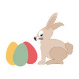 Rabbit holding easter eggs design. Vector illustration Stock Photo