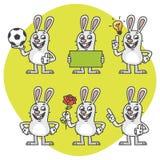 Rabbit Holds Soccer Ball Empty Nameplate Flower Set Characters Stock Photo