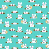Rabbit in hole, cute cartoon seamless pattern, Happy Easter kids and baby texture background vector illustration royalty free illustration