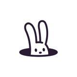 Rabbit in hole. Simple, minimalistic rabbit hole logo. Cute cartoon bunny vector illustration Stock Images
