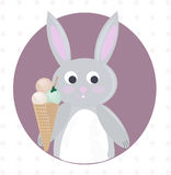 Rabbit and ice cream cartoon template Vector. Illustration Stock Images