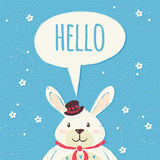 Rabbit illustration with chat bubble. Easter rabbit illustration with chat bubble on blue background Stock Photo