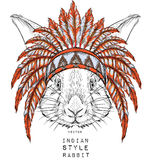 Rabbit in the Indian roach. Indian feather headdress of eagle Stock Photography