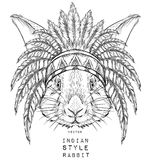 Rabbit in the Indian roach. Indian feather headdress of eagle. Hand draw vector illustration Stock Image