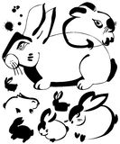 Rabbit ink art. Set of Rabbit ink art  illustration Stock Photo