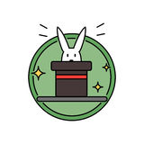 Rabbit inside magician hat, funny magic trick concept circle badge Stock Photography