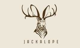 Rabbit jackalope stock illustration