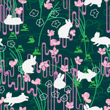 Rabbit Japan Sakura style line green seamless pattern. This illustration is design and drawing white rabbit with Japanese stylish line, Fuji mountain sign and Stock Photo