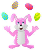 Rabbit juggling Easter Eggs Stock Photo