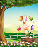 A rabbit juggling the Easter eggs Stock Images