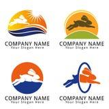 Rabbit Jumping Concept Logo Royalty Free Stock Photography