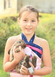 Rabbit in kids hands Royalty Free Stock Images
