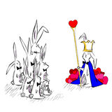 Rabbit king of heart Stock Image