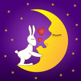 A Rabbit kiss the moon. Asian people believes that the rabbit is on the moon royalty free stock image