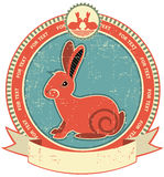 Rabbit label. On old paper texture.Vintage style Royalty Free Stock Images