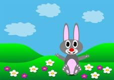 Rabbit on the lawn. Illustration Stock Photo