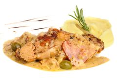 Rabbit legs with potato puree and rosemary Royalty Free Stock Photography