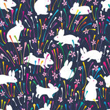 Rabbit line colorful flower seamless pattern. This illustration is design and drawing rabbit with colorful line and pink flower in seamless pattern Royalty Free Stock Photo