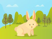 Rabbit with Long Ears Sitting, Green Grass Vector. Rabbit with long ears sitting on grass vector cartoon animal on background of green trees and hills. Vector vector illustration