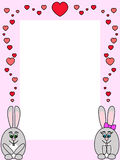 Rabbit love. Pink frame with two rabbit in love Royalty Free Stock Images