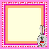 Rabbit love frame. Greeting card frame with rabbit with heart Stock Photo