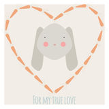 Rabbit love illustration. Valentine card with rabbit in carrot heart-shaped frame and inscription `for my true love` . Cute love poster with bunny . Declaration royalty free illustration